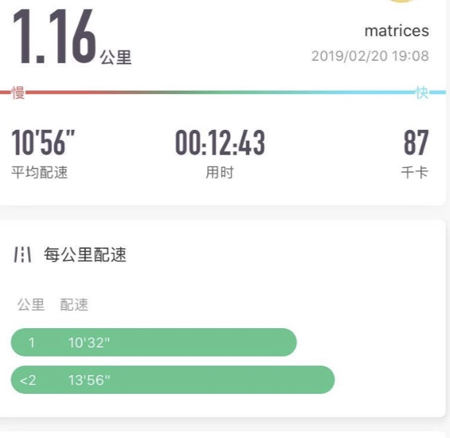 年初时的第一次1公里